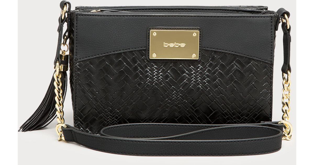 f1cf6852ef Bebe Kiara Woven Crossbody Bag in Black - Lyst