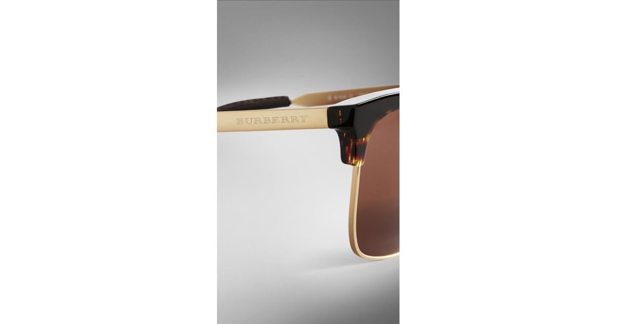 9d468ee5cf7a Lyst - Burberry Trench Collection Square Frame Sunglasses in Brown for Men
