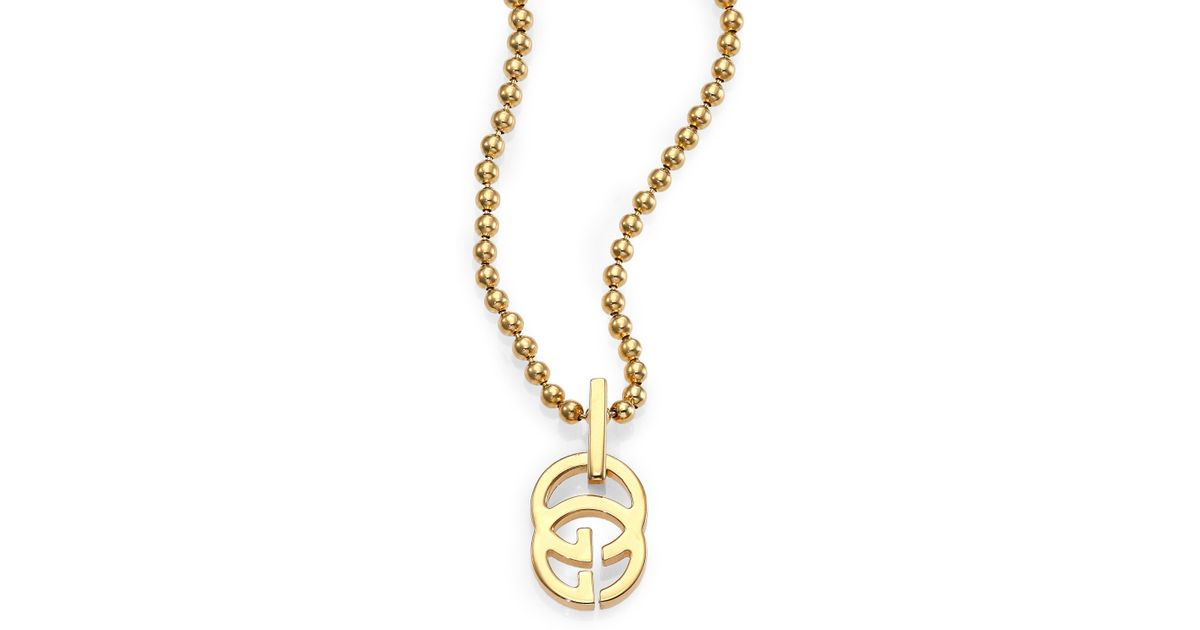 Lyst gucci running g 18k yellow gold pendant necklace in metallic aloadofball Choice Image