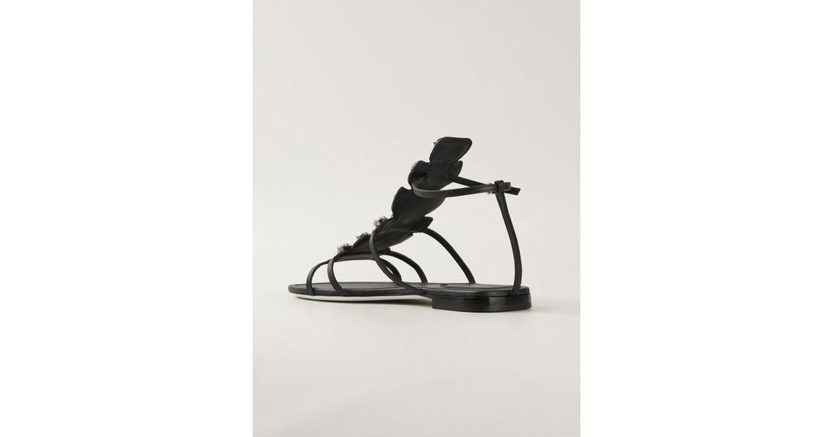 30ba84b8e37e1 Lyst - Fendi Crystal-embellished Gladiator Sandals in Black