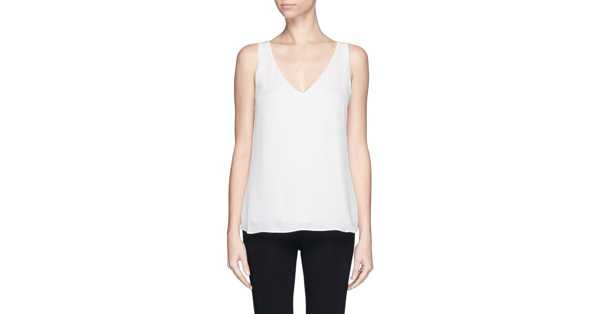 e8e0a013106 Theory - White 'Martosh' V-Neck Double Layer Tank Top - Lyst