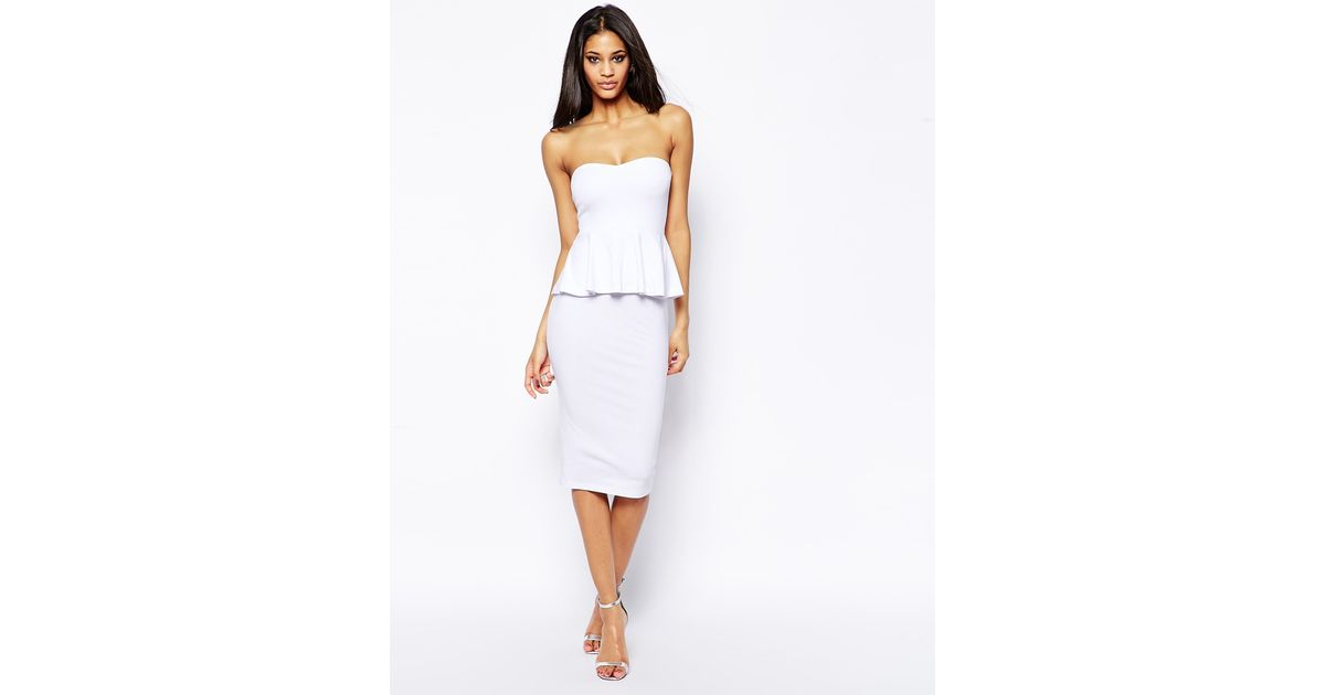 f41eee90d873 Lyst - ASOS Plain Peplum Bandeau Midi Dress in White
