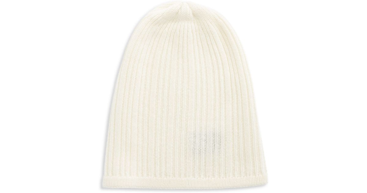 Knitting Pattern Cashmere Hat : Lord & taylor Knit Cashmere Slouchy Hat in White (Ivory) Lyst