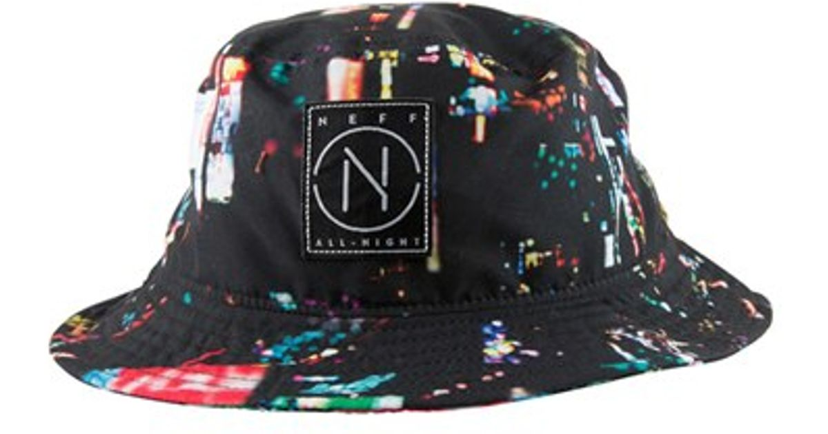 Lyst - Neff  city Lights  Print Bucket Hat in Black for Men dbb1b92a3515