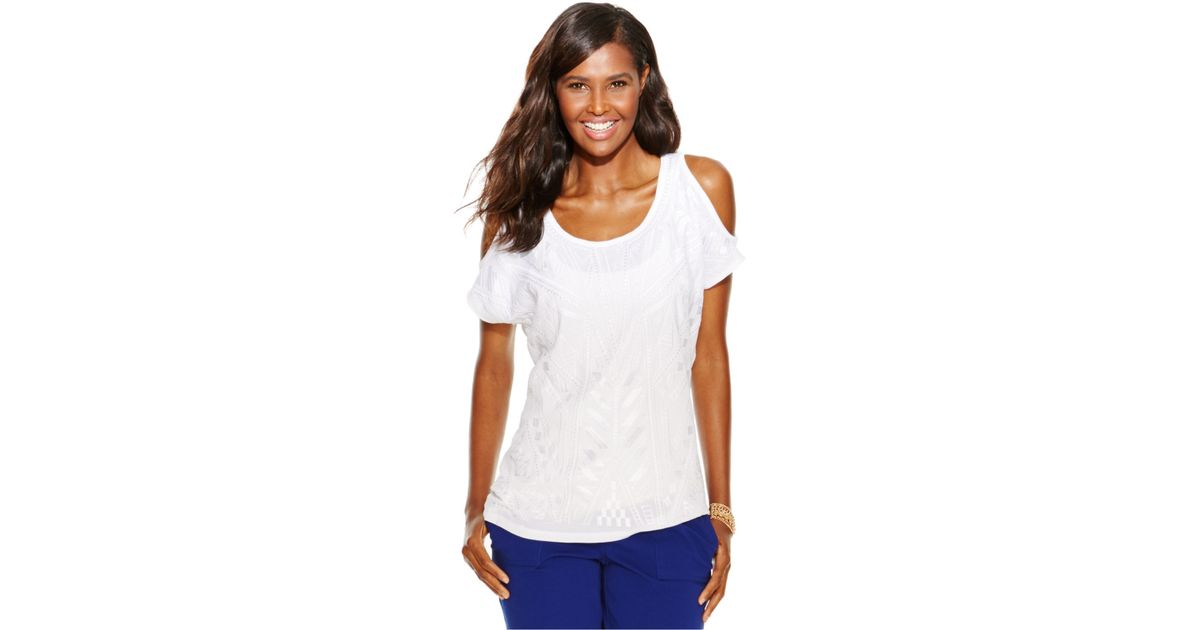 83f4820a953c0 Lyst - INC International Concepts Plus Size Cold-shoulder Embroidered Top  in White