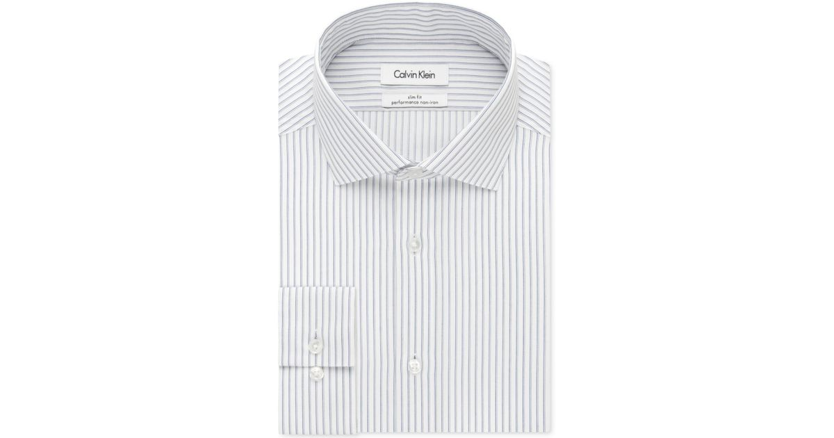 61c23756e Calvin Klein Steel Slim-fit Non-iron Performance Stream Blue And White  Stripe Dress Shirt in White for Men - Lyst