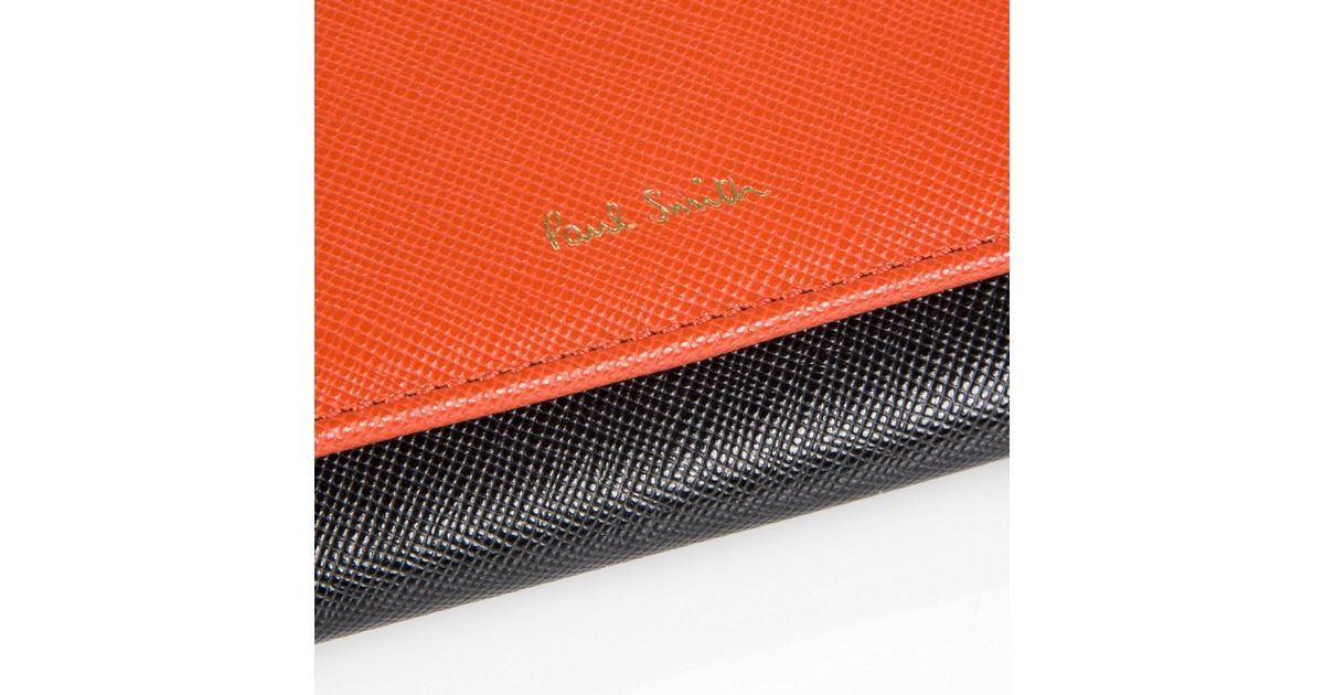Lyst Paul Smith Women S Burnt Orange And Black Large Tri Fold Purse In