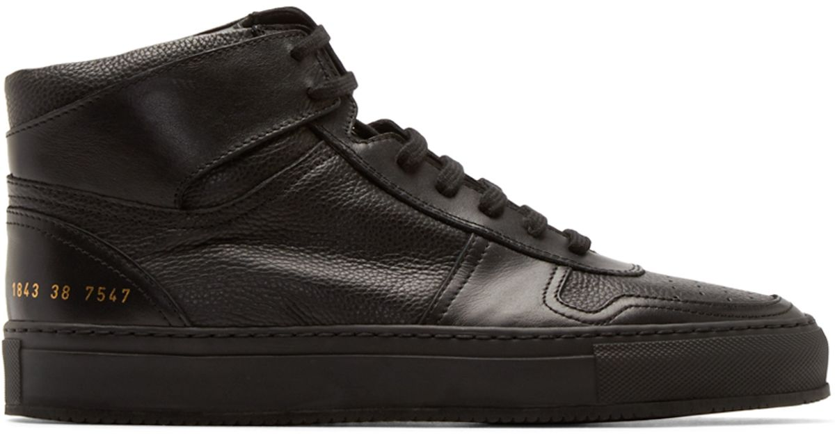 6340dddc0b3 Lyst - Common Projects Black Leather Bball High Sneakers in Black for Men