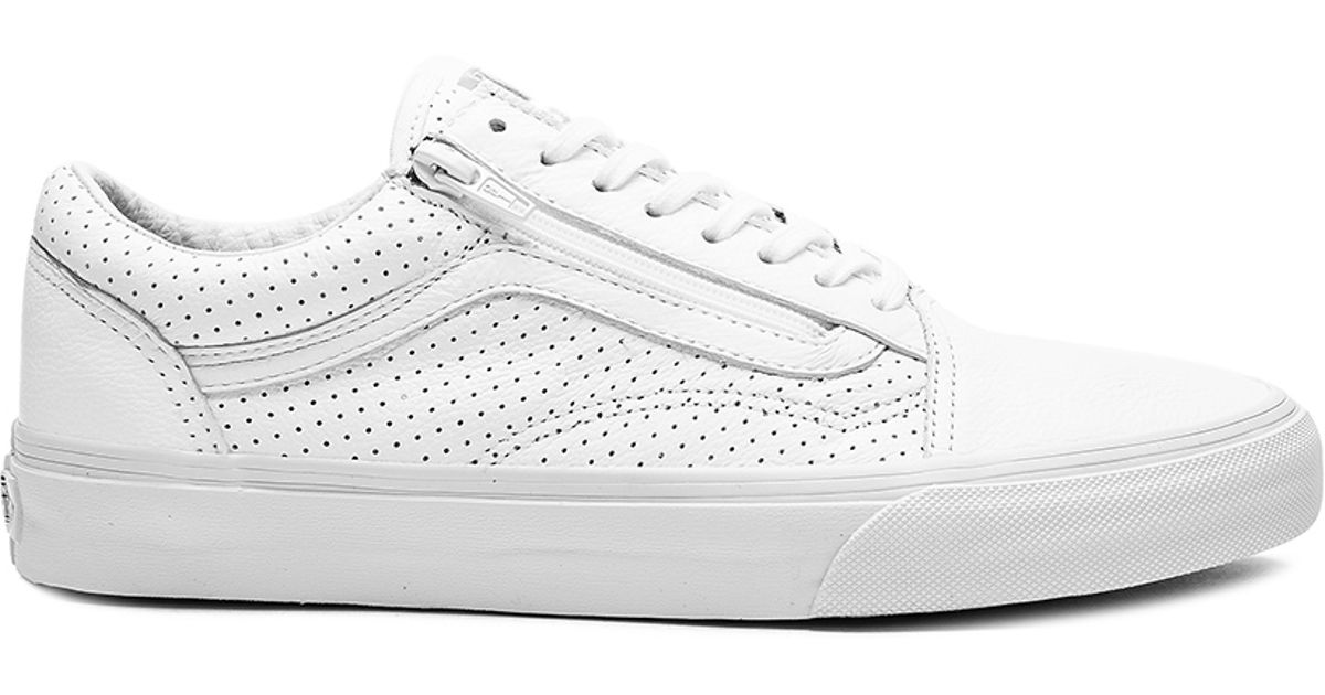 6a44bced6f8 Lyst - Vans Old Skool Zip Perf Leather in White for Men