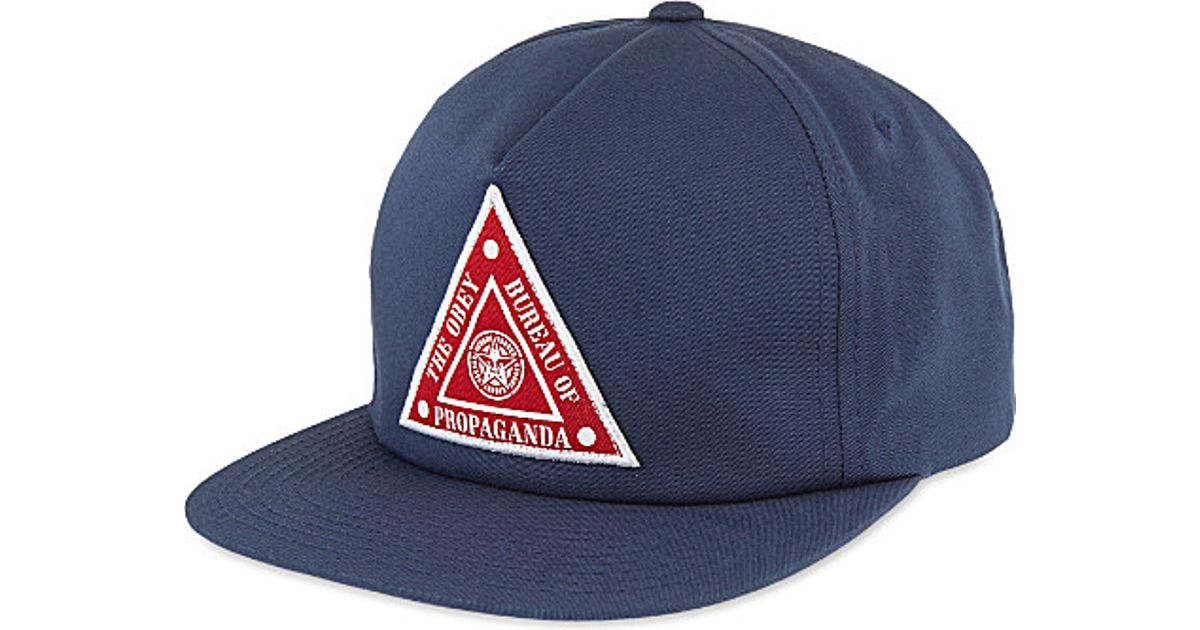c474bf20177 Lyst - Obey Hazard Triangle Patch Snapback in Blue for Men