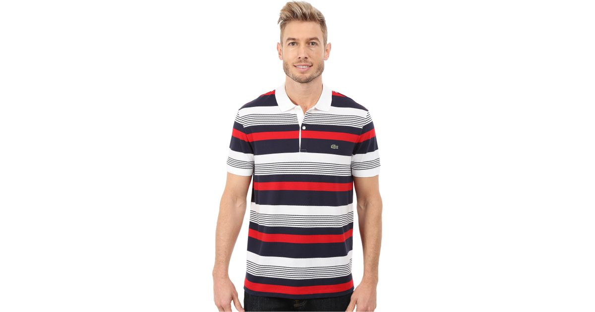 Lacoste resort short sleeve pique stripe polo in for Lacoste stripe pique polo shirt