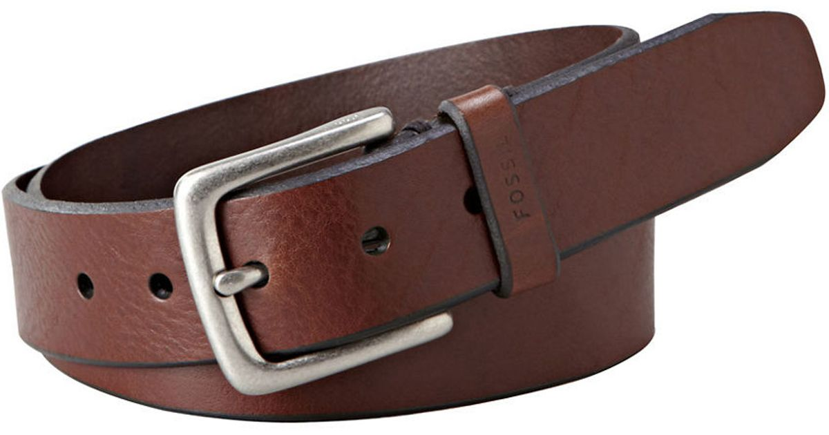 fossil joe leather belt in brown for lyst