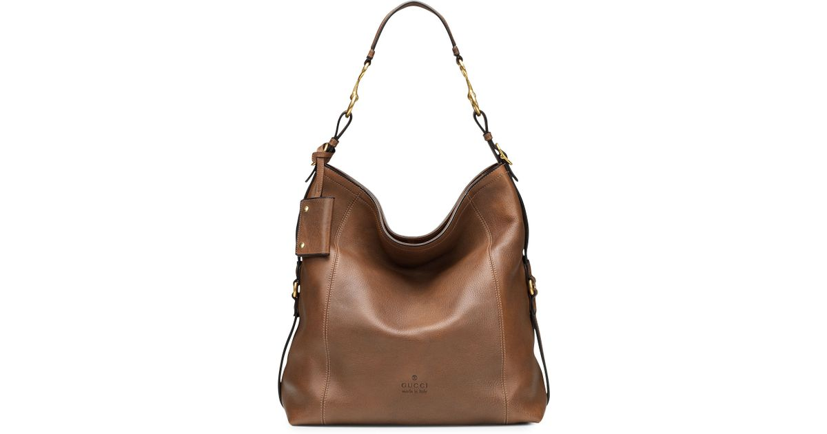 Lyst - Gucci Harness Leather Hobo Bag in Brown 99e2925482eb2