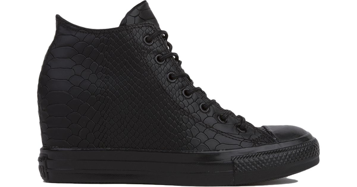 abe856aff5fa Converse Women s Chuck Taylor All Star Lux Embossed Reptile Mid Top Sneaker  Wedges in Black - Lyst