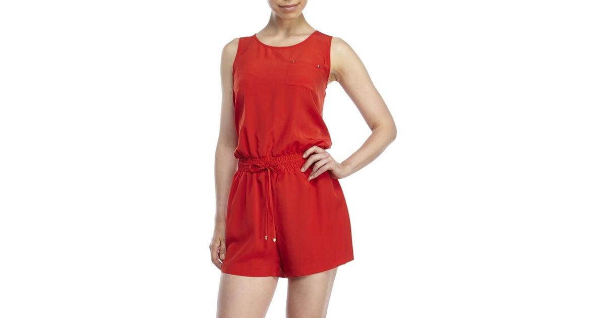 2f2d3321426 Lyst - Ivanka Trump Chest Pocket Romper in Red