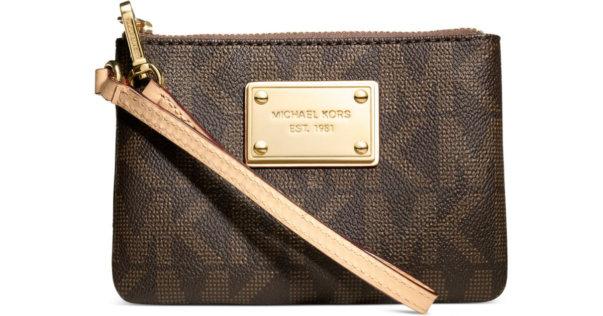 340153893c46 ... backpack 428a9 2bbda  good lyst michael kors michael jet set small  signature wristlet in brown 2c92d 42d97