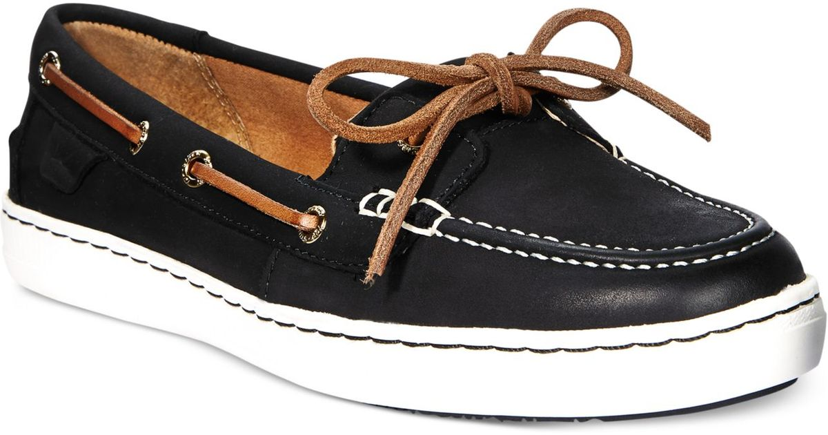 Lyst - Sperry Top-Sider Women s Harbor Stroll Boat Shoes in Black 8eaee1abd