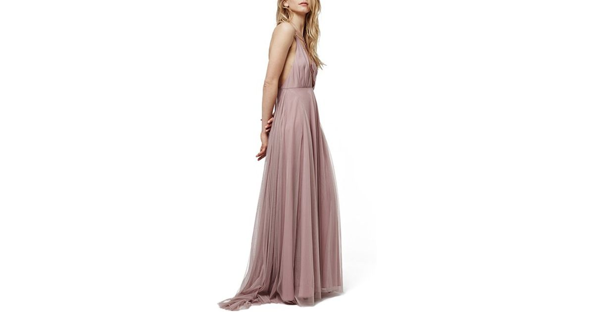 c5badc9d65b TOPSHOP Lace-Up Tulle Maxi Dress in Purple - Lyst