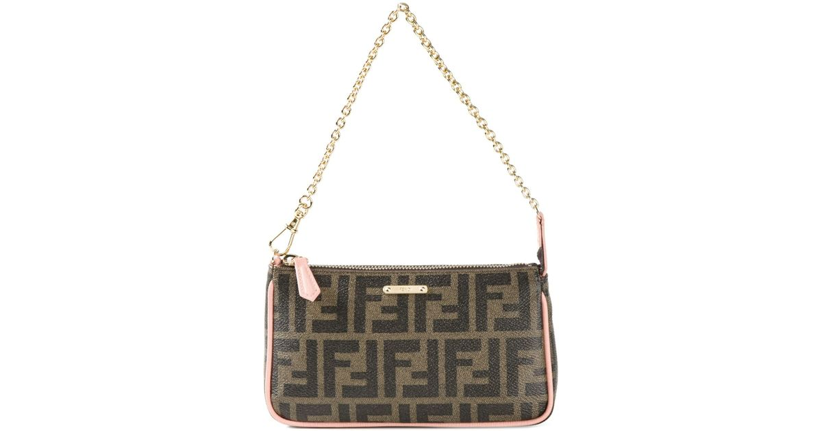 ... good lyst fendi ff small leather shoulder bag in brown a57b6 92adf 7d0d9fa86f62a