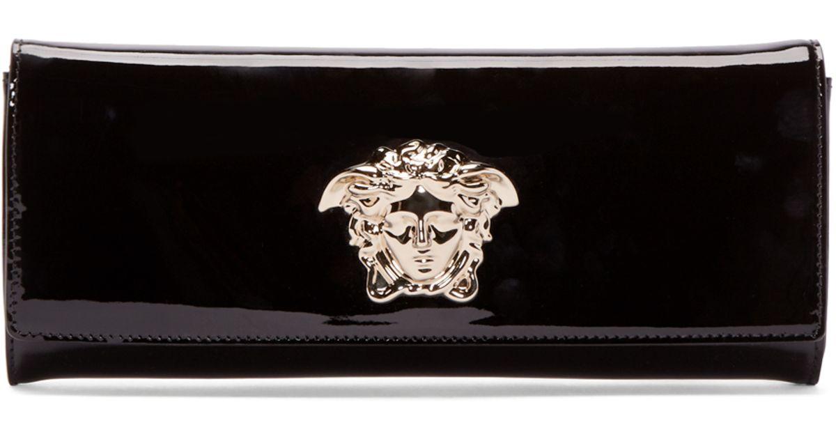 a8e448246ee2 Lyst - Versace Black Patent Medusa Clutch in Black