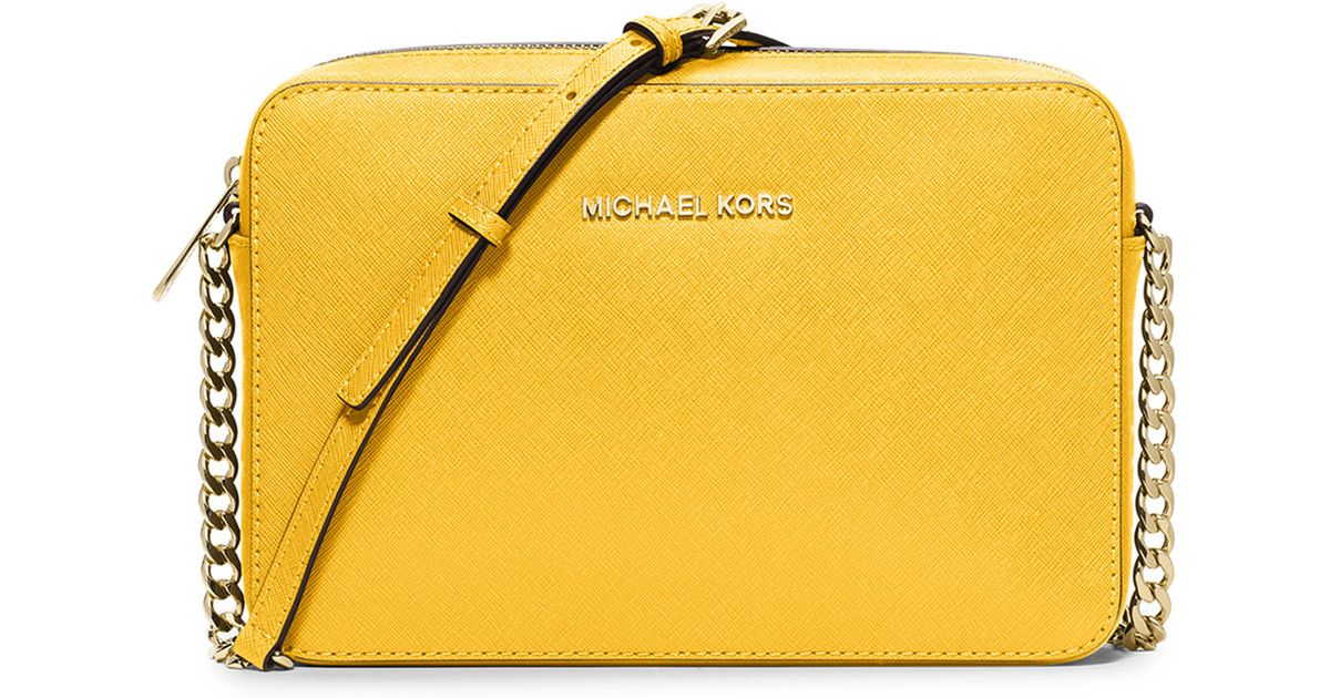 0d8c761189eb MICHAEL Michael Kors Jet Set Travel Large Crossbody Bag in Yellow - Lyst