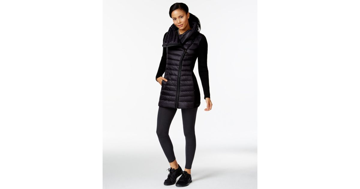 91b98550274 Calvin Klein Performance Asymmetrical Zip Puffer Jacket in Black - Lyst