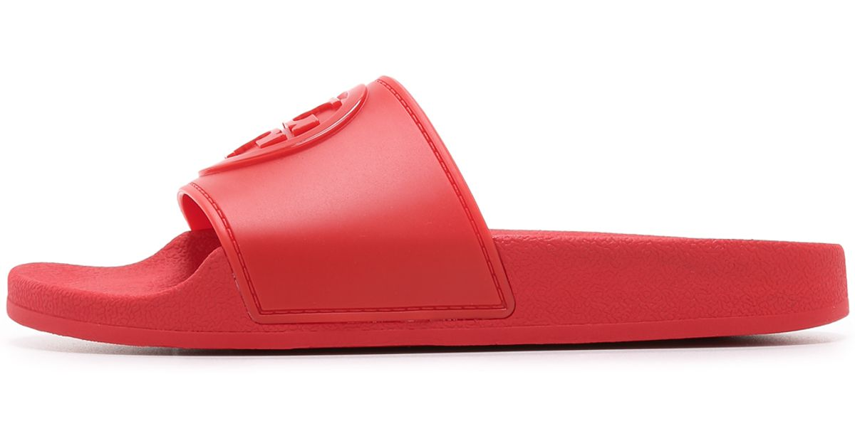 e6aa8365c0d1a3 Lyst - Tory Burch Jelly Flat Slides in Red