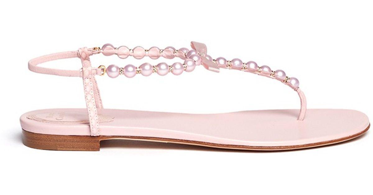 Lyst - Rene Caovilla Pearl T-strap Flat Sandals in Pink