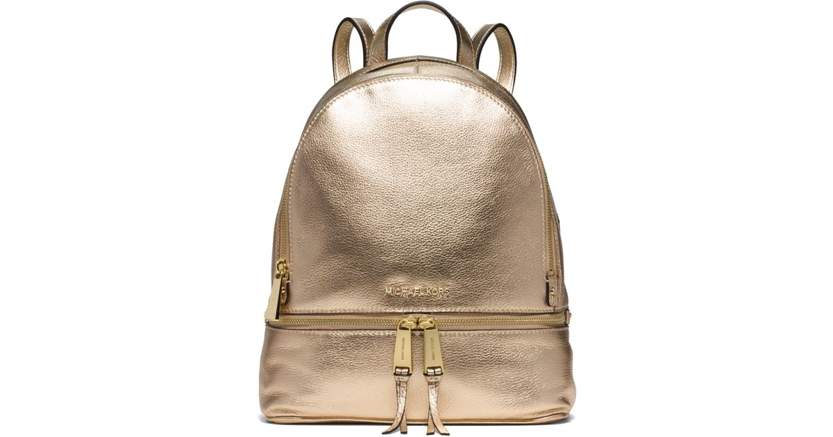 2ae5b8d29295 Lyst - Michael Kors Rhea Metallic Medium Backpack in Metallic