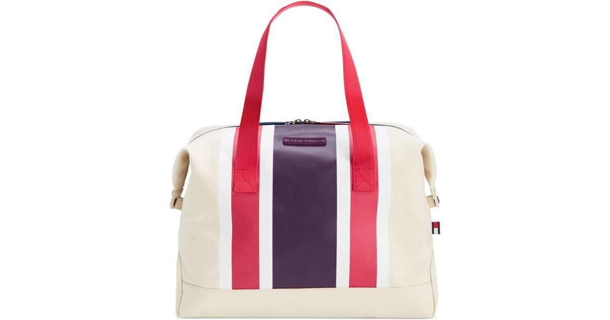 tommy hilfiger th stripes printed canvas large weekender in purple natural beaujolais pink. Black Bedroom Furniture Sets. Home Design Ideas