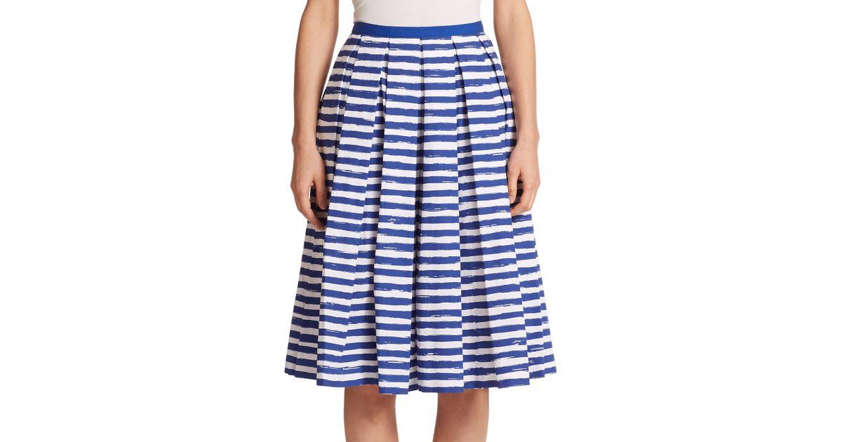 michael kors pleated stripe skirt in blue lyst
