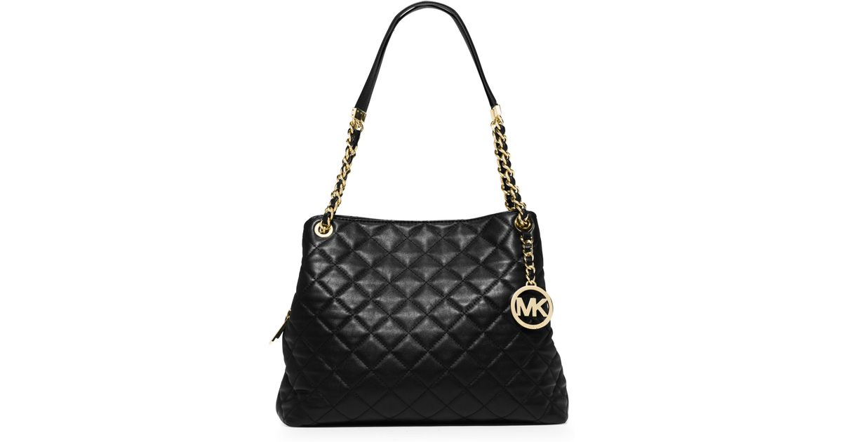 36d707b6a97a Michael Kors Susannah Large Quilted-leather Shoulder Bag in Black - Lyst