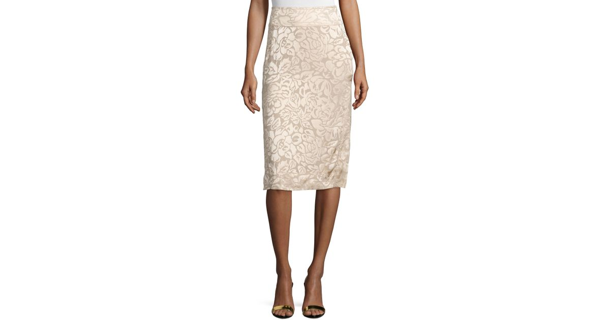 donna karan floral embroidered pencil skirt in lyst