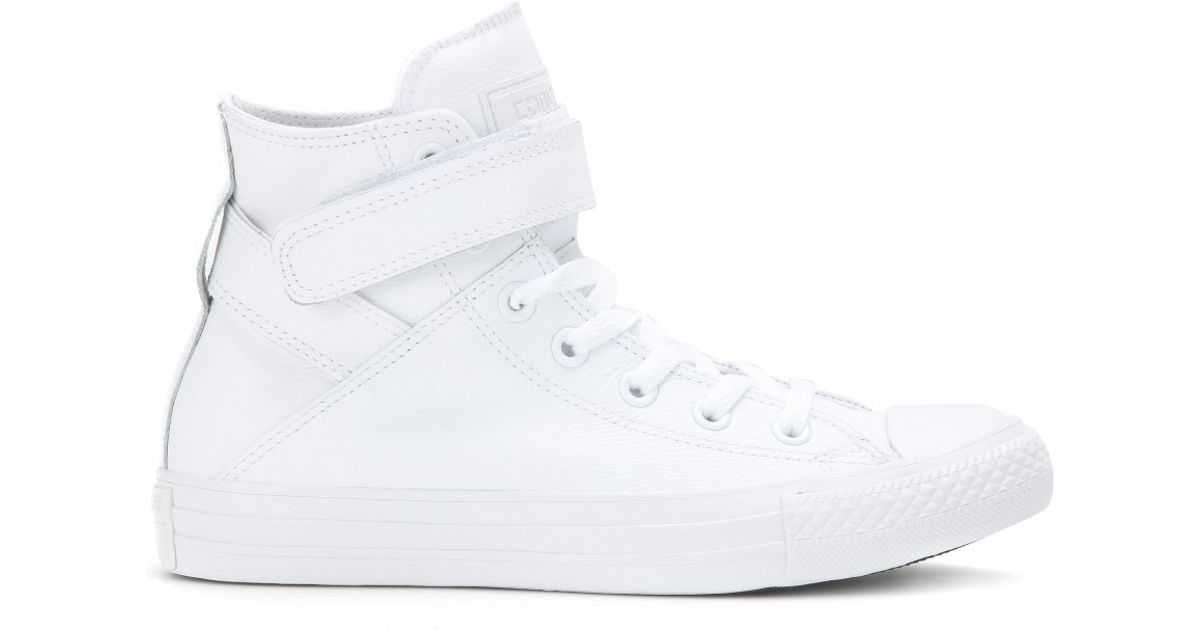 a88f5d98812a1d Lyst - Converse Chuck Taylor All Star Brea Leather High-top Sneakers in  White