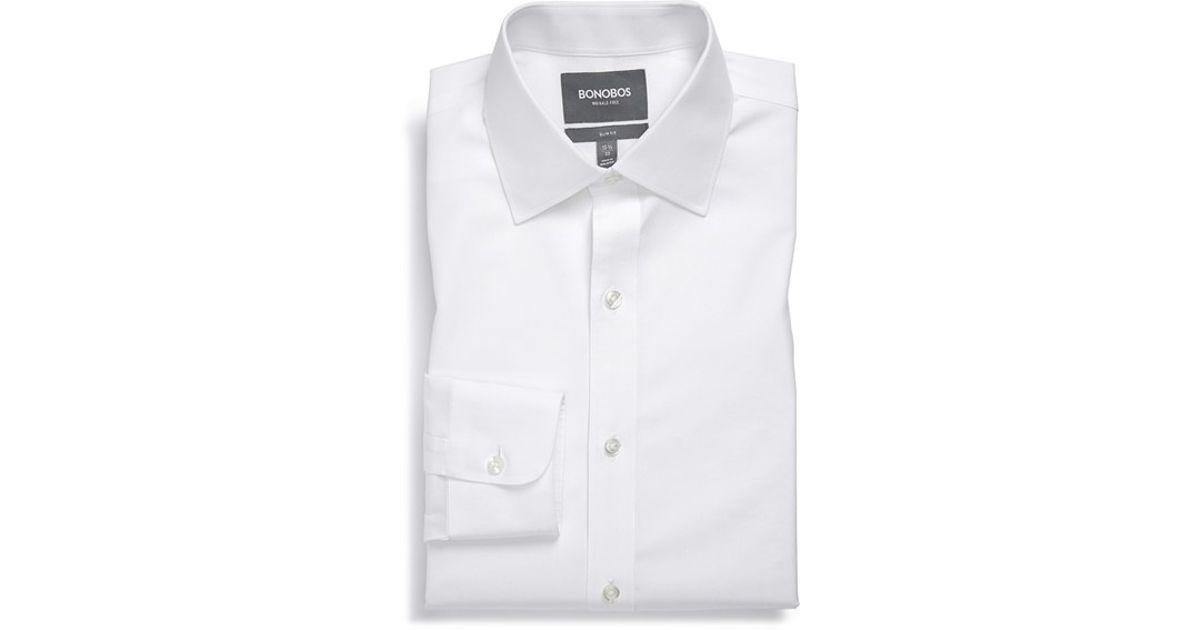 Bonobos Slim Fit Wrinkle Free Solid Dress Shirt In White