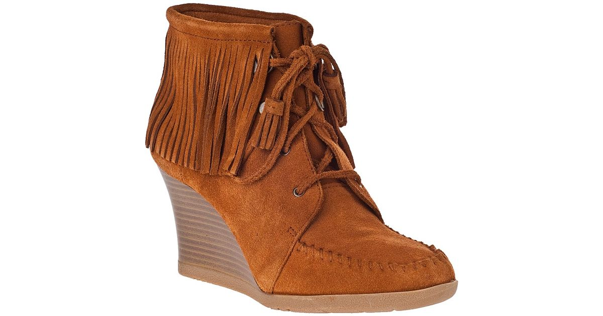 minnetonka lace up fringe ankle boot brown suede in brown