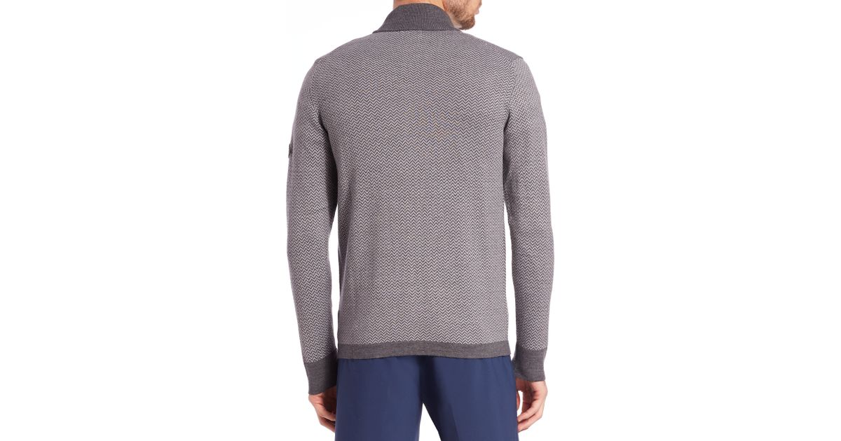 J.lindeberg Laurent Herringbone Knit Sweater in Gray for ...
