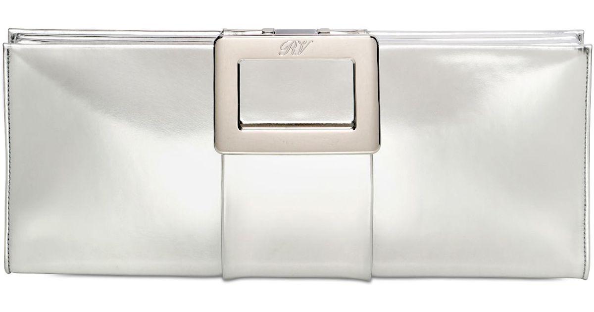 Lyst - Roger Vivier Belle Vivier Mirror Leather Clutch in Metallic 9e51eb2b3d717