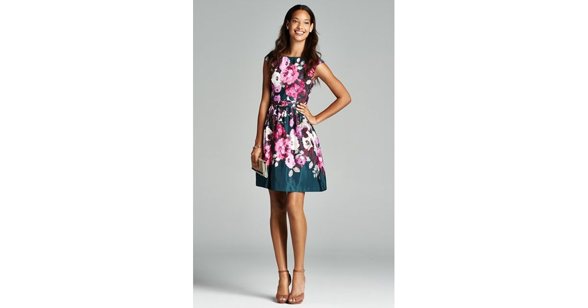 Lyst Eliza J Belted Floral Print Fit Flare Dress In Green