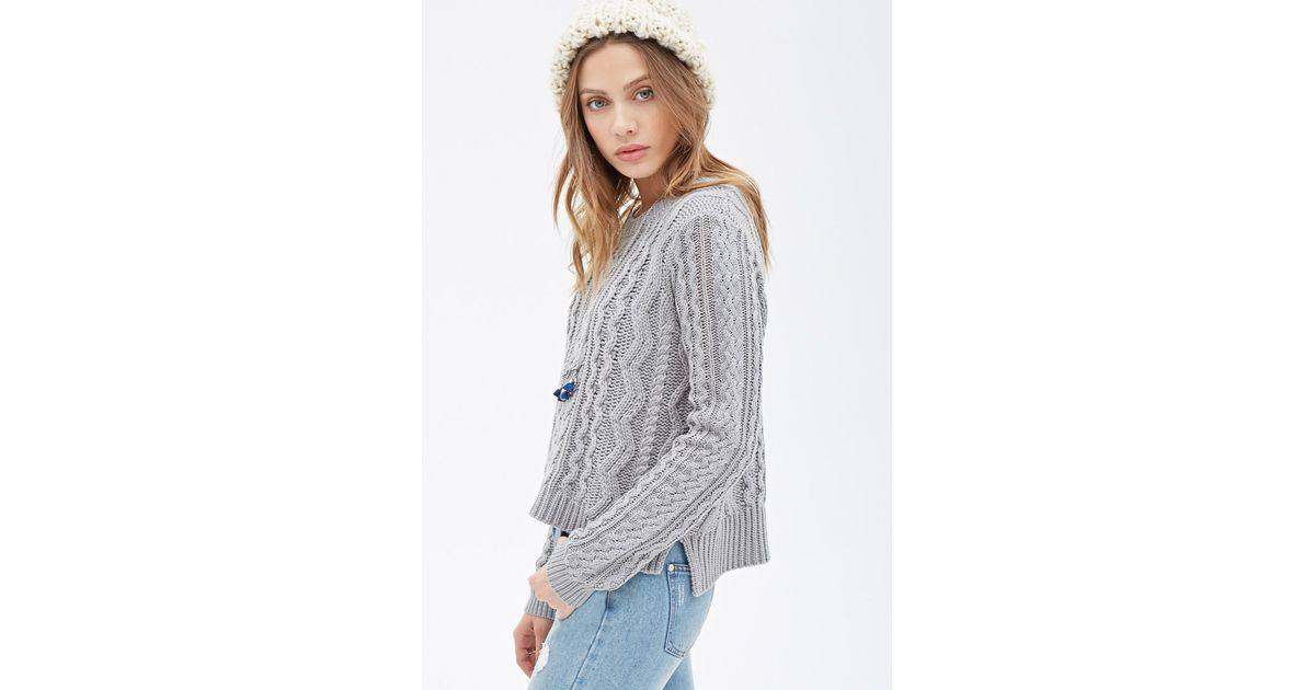 c4fe0d43b2 Lyst - Forever 21 Boxy Cable Knit Sweater in Gray