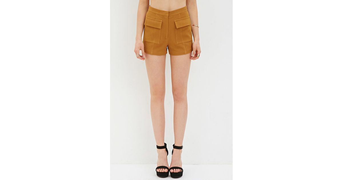 Forever 21 Textured High-waisted Shorts in Yellow   Lyst