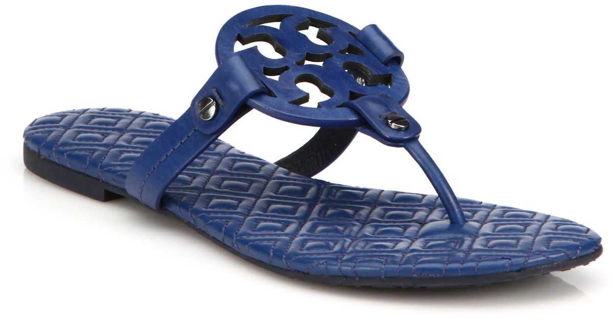 dbed9e759969ab Lyst - Tory Burch Miller Quilted Leather Logo Thong Sandals in Blue