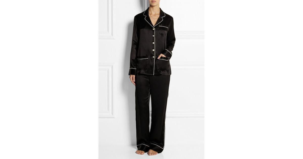 Lyst - Olivia Von Halle Coco Silksatin Pajama Set in Black b310169a4