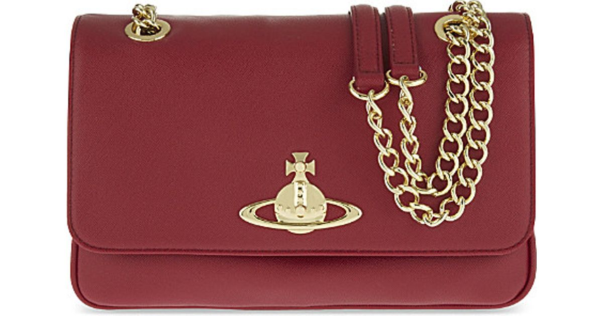 be16ce21c1 Vivienne Westwood Divina Double Chain Saffiano Shoulder Bag in Red - Lyst