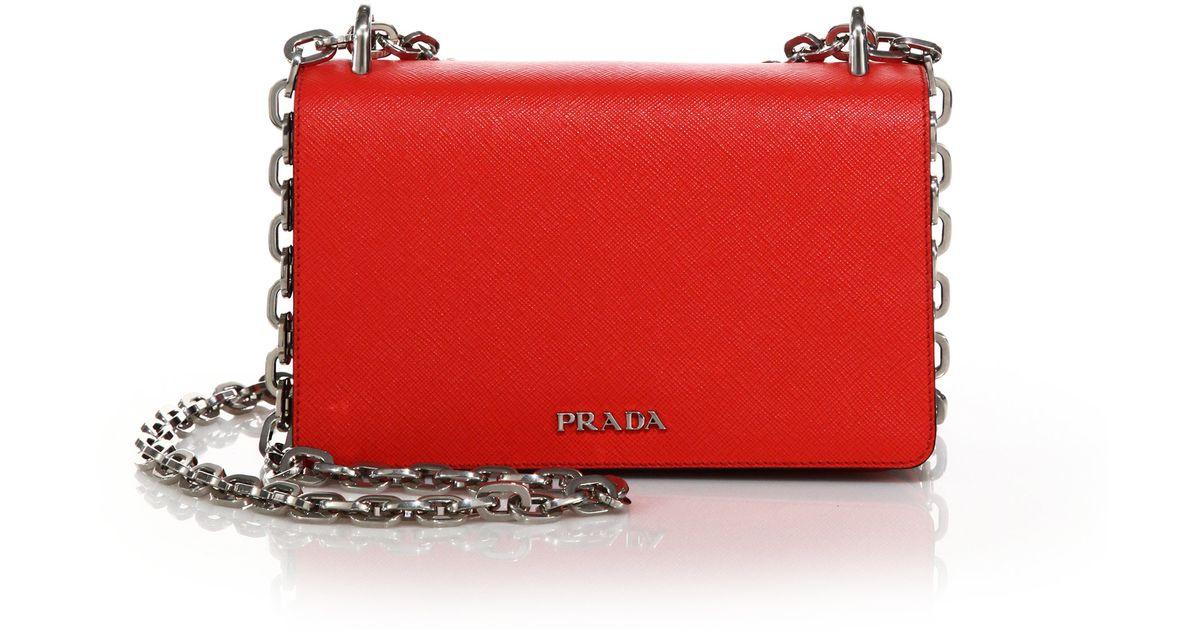 2a26dbbb6466 Lyst - Prada Tessuto   Saffiano Bicolor Chain Bag in Red