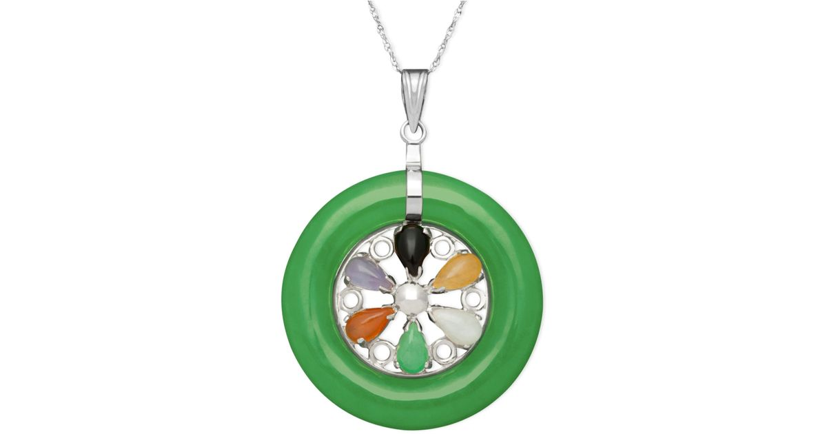 macy s sterling silver necklace multicolor jade circle