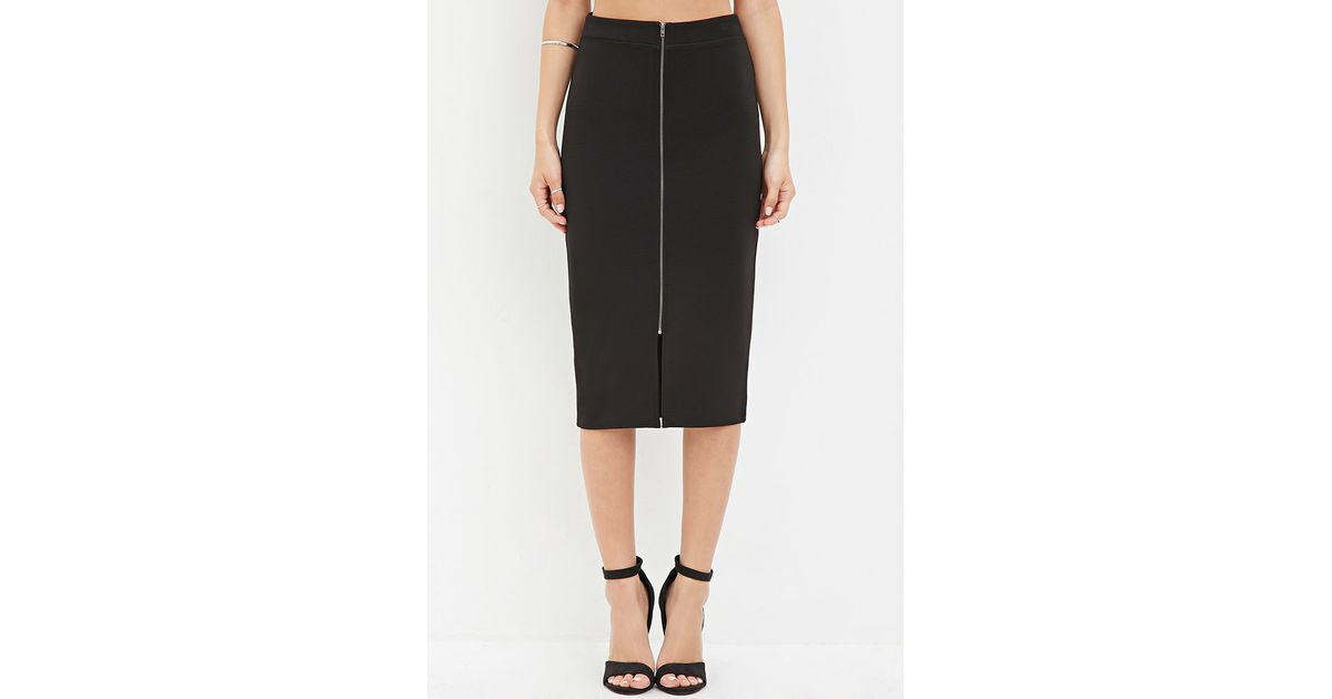 forever 21 zip front pencil skirt in black lyst