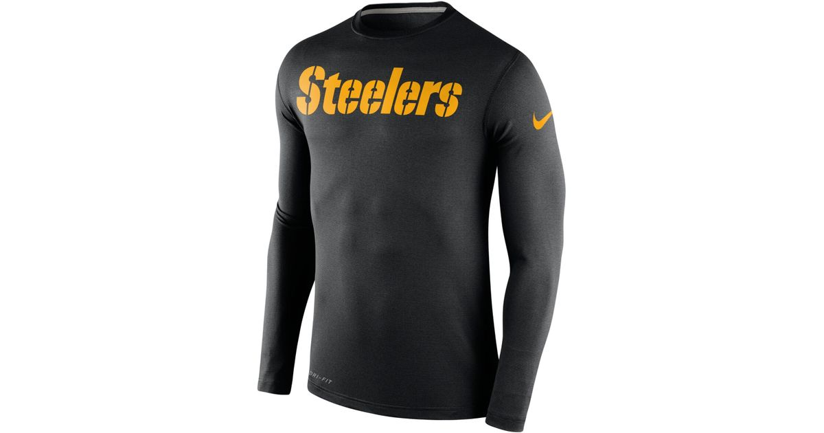 dc44451f Nike Men's Long-sleeve Pittsburgh Steelers Dri-fit Touch T-shirt in Black  for Men - Lyst