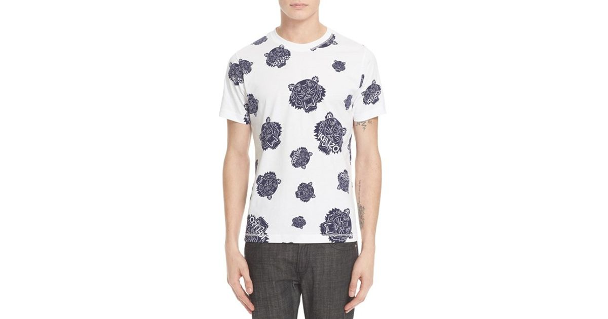 874b9f13d KENZO 'all Over Tiger Head' Graphic T-shirt in White for Men - Lyst