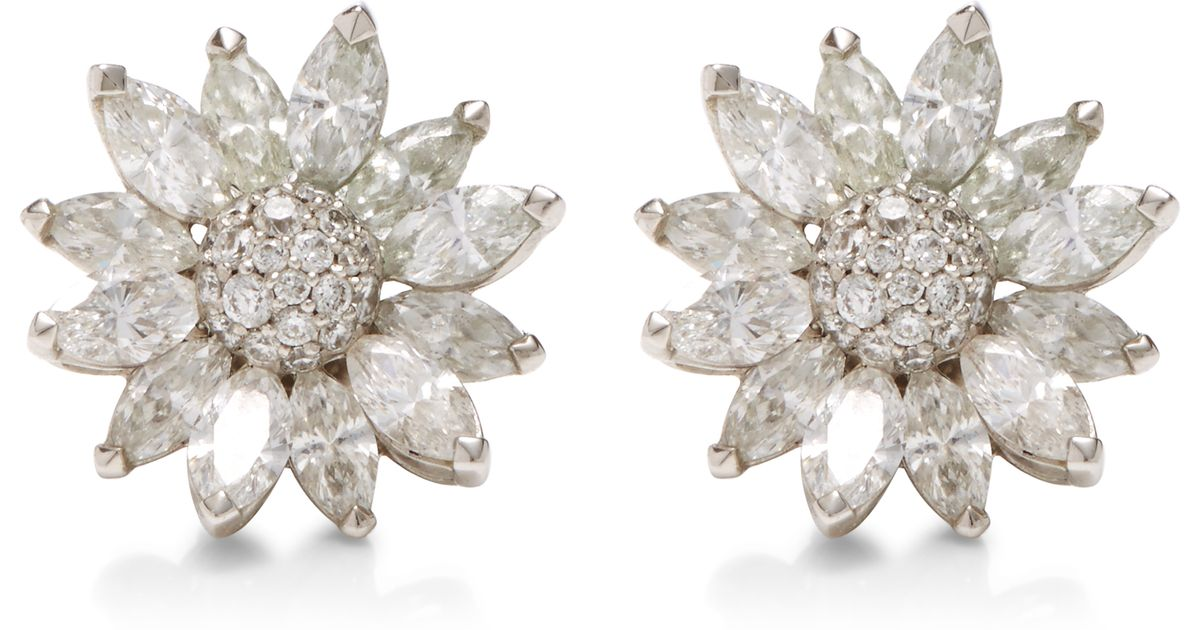 Lyst Asprey Daisy Heritage 18k White Gold And Diamond Earrings In Metallic
